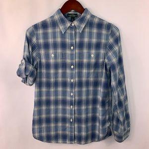 Ralph Lauren LRL Shirt Button Plaid Roll Tab S